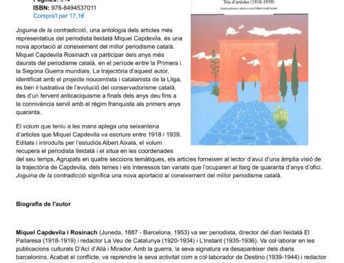 El digital racocatala.cat ha recomanat el llibre 'Joguina de la contradicció', de Miquel Capdevila.