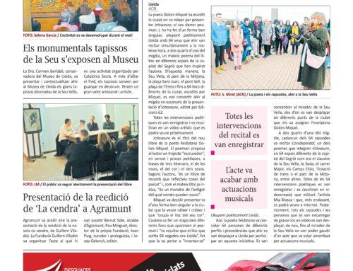 El diari 'La Manyana' es fa ressò de la presentació de 'La cendra' a Agramunt